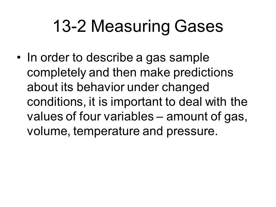 13-2 Measuring Gases