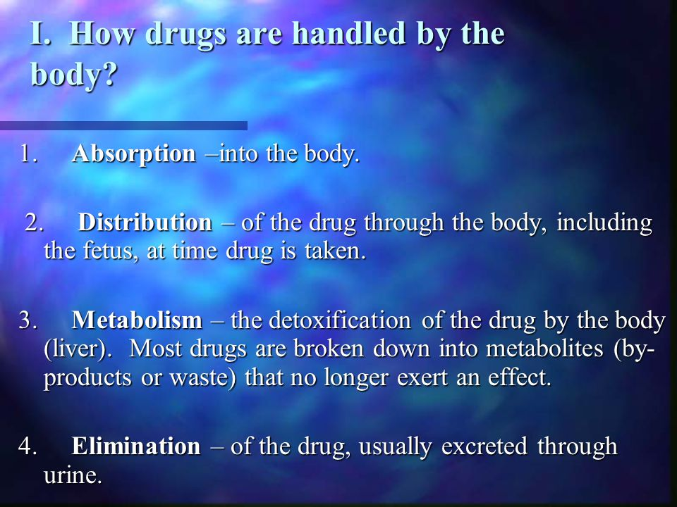 I. How drugs are handled by the body