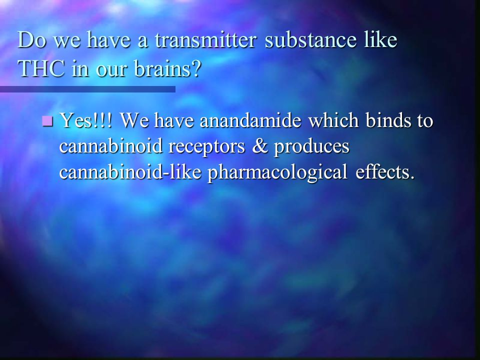 Do we have a transmitter substance like THC in our brains