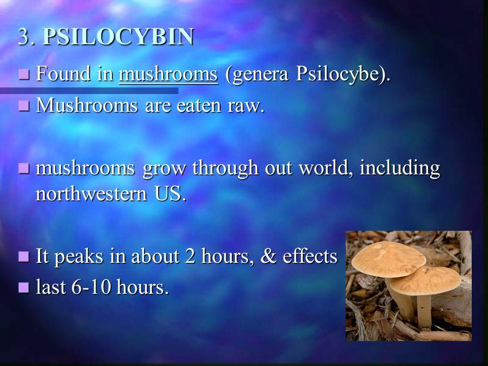 3. PSILOCYBIN Found in mushrooms (genera Psilocybe).