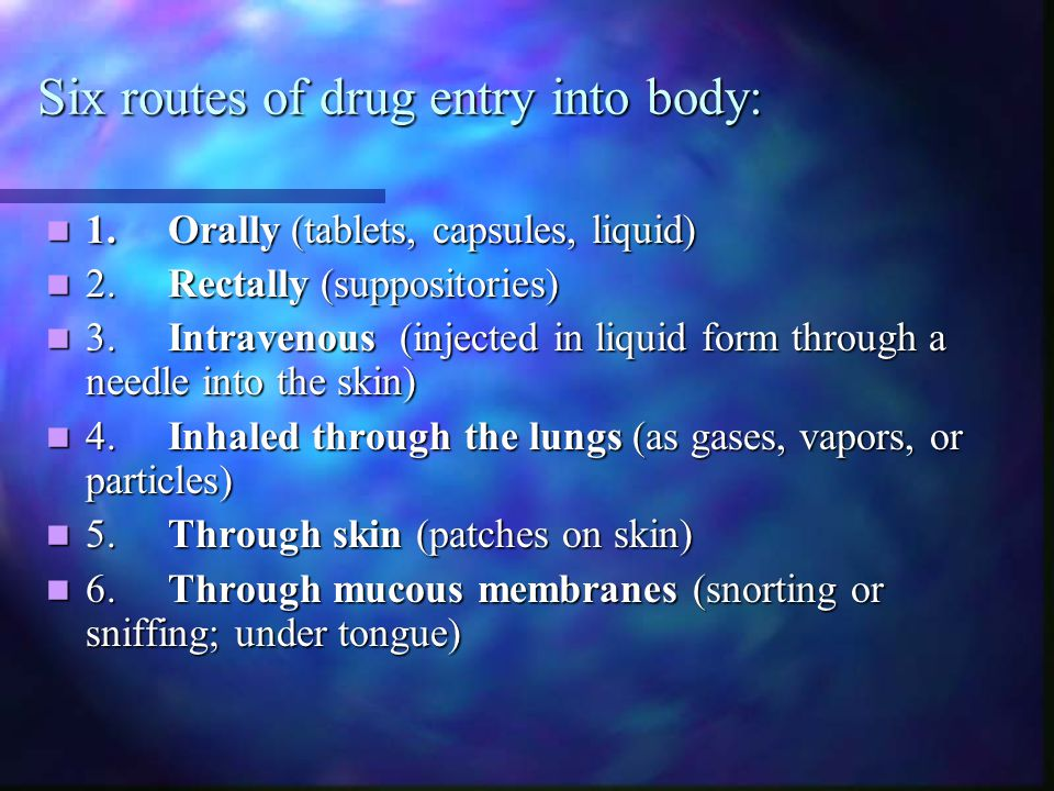 Six routes of drug entry into body: