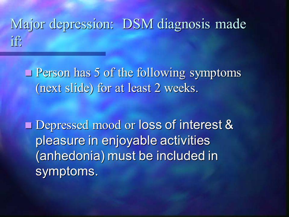 Major depression: DSM diagnosis made if: