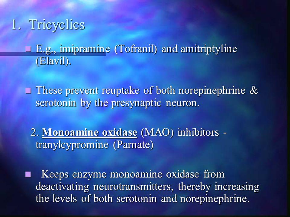 1. Tricyclics E.g., imipramine (Tofranil) and amitriptyline (Elavil).