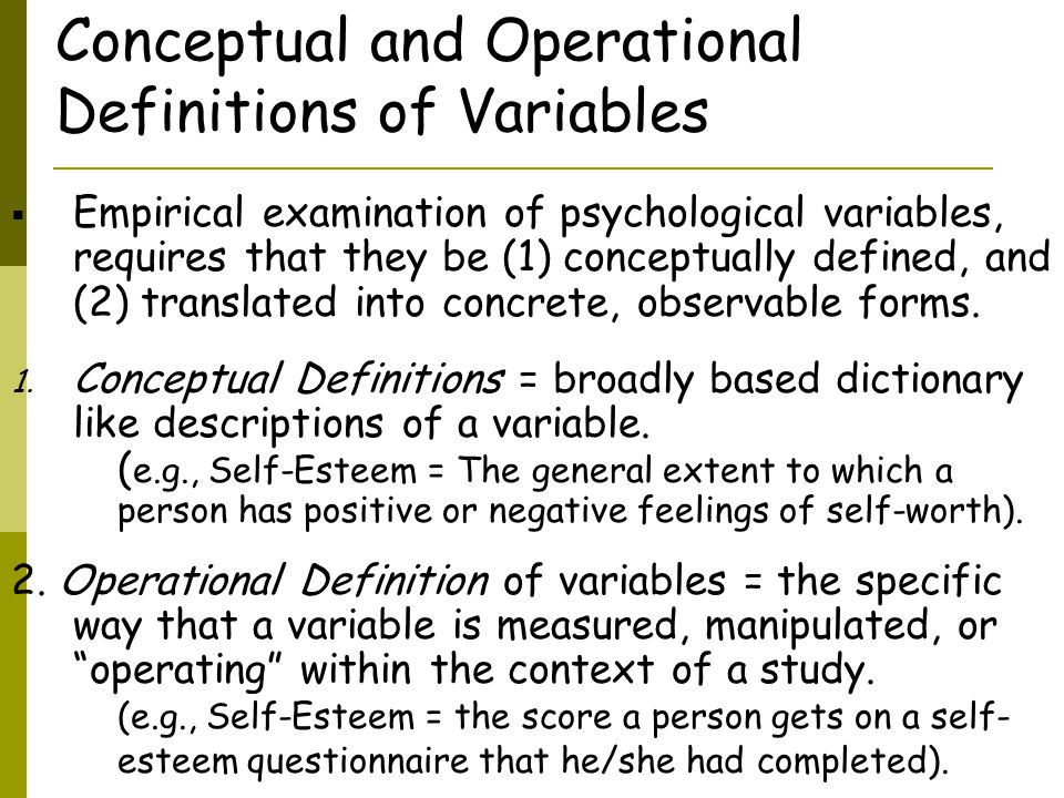 Conceptual and Operational Definitions of Variables