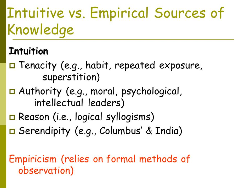 Intuitive vs. Empirical Sources of Knowledge