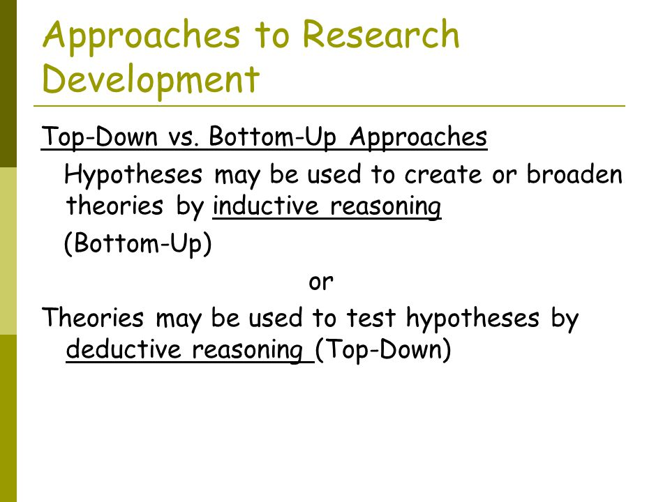 Approaches to Research Development