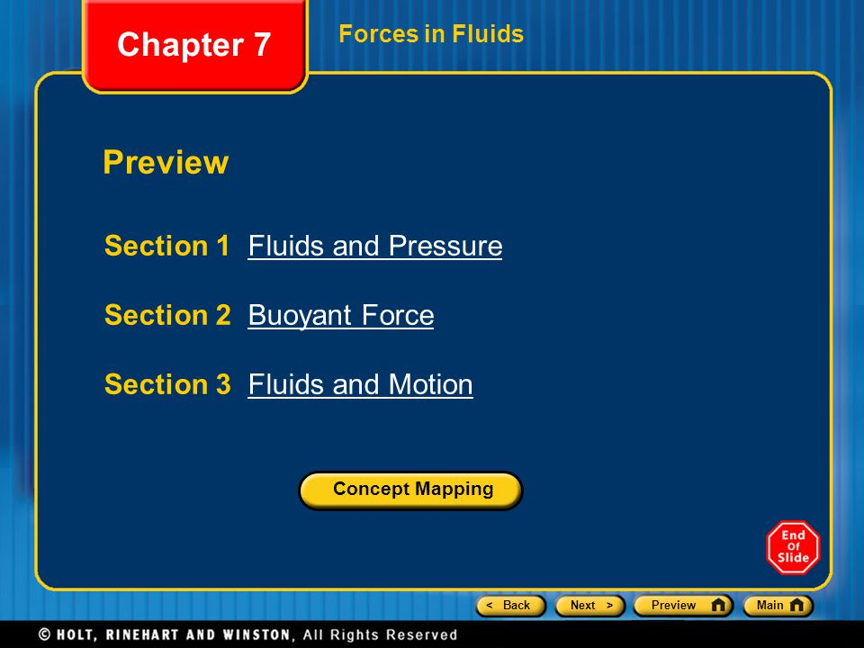 Chapter 7 Preview Section 1 Fluids and Pressure