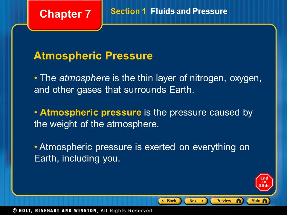Chapter 7 Atmospheric Pressure