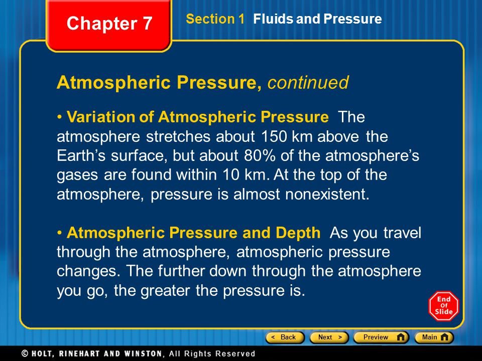 Atmospheric Pressure, continued