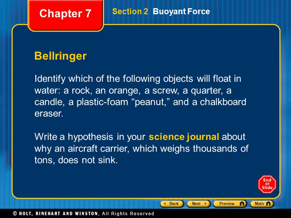 Chapter 7 Section 2 Buoyant Force. Bellringer.