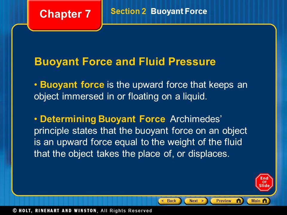 Buoyant Force and Fluid Pressure