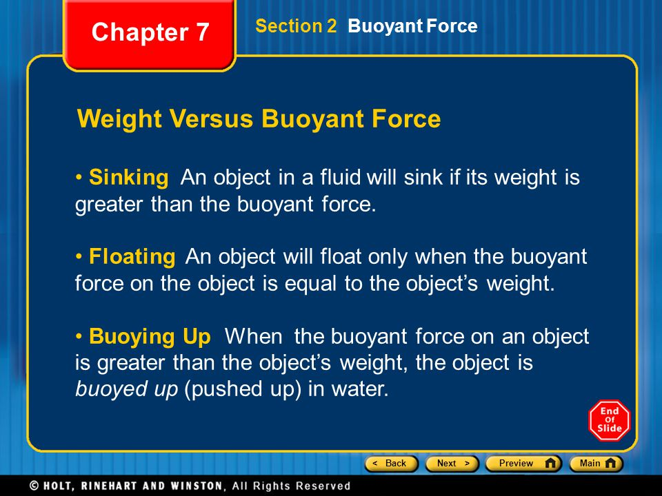 Weight Versus Buoyant Force
