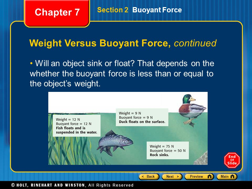 Weight Versus Buoyant Force, continued