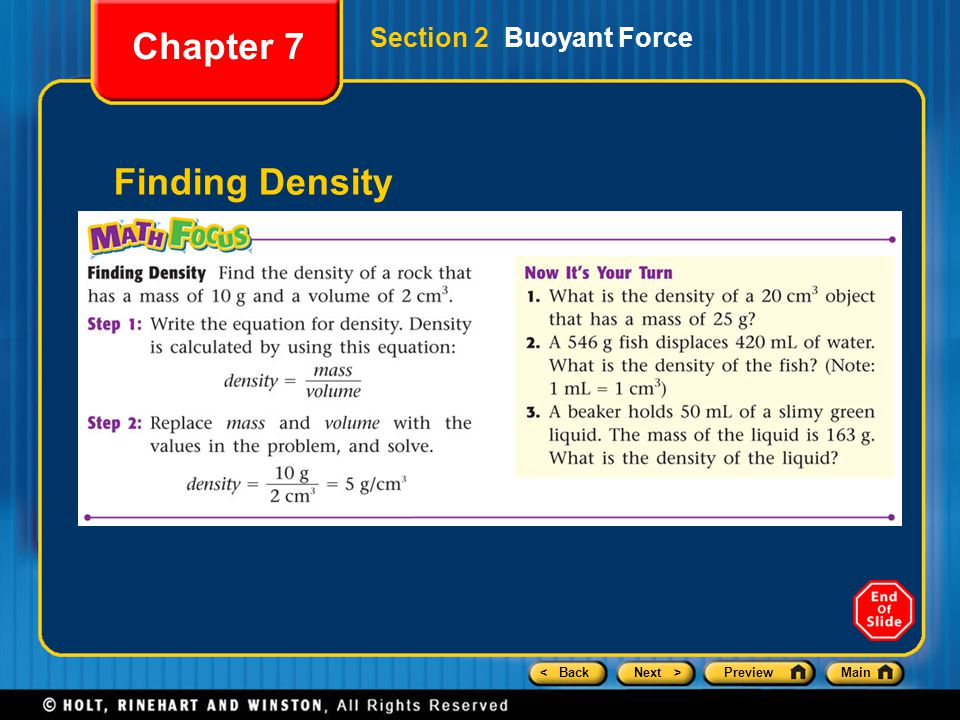 Chapter 7 Section 2 Buoyant Force Finding Density