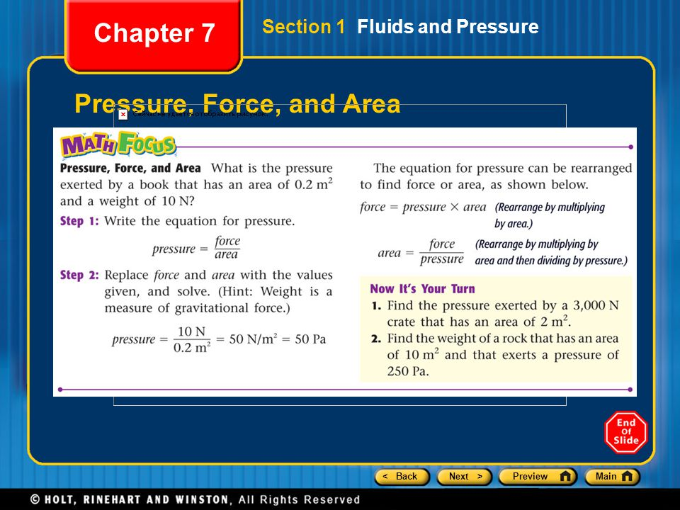Pressure, Force, and Area