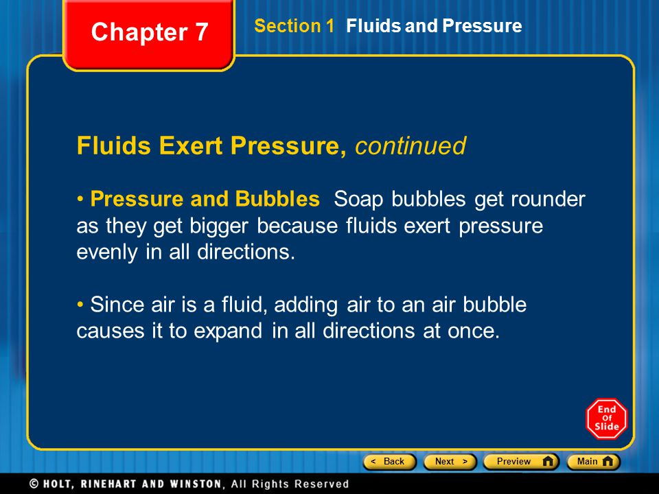 Fluids Exert Pressure, continued
