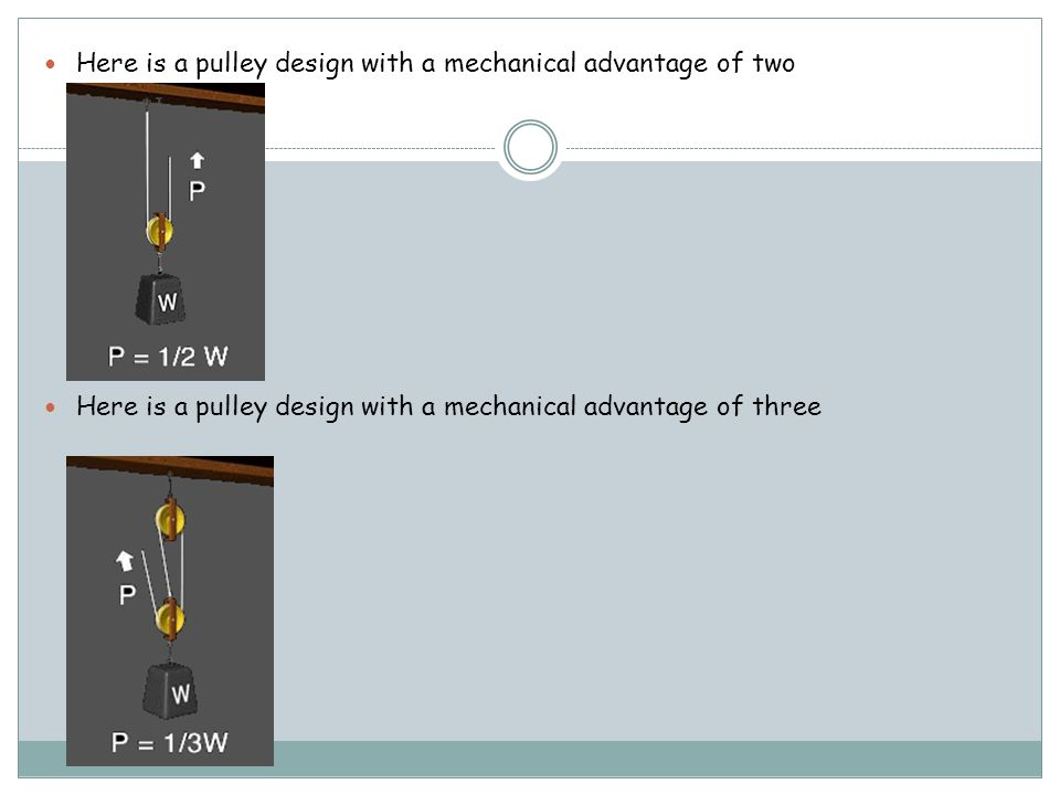 Here is a pulley design with a mechanical advantage of two