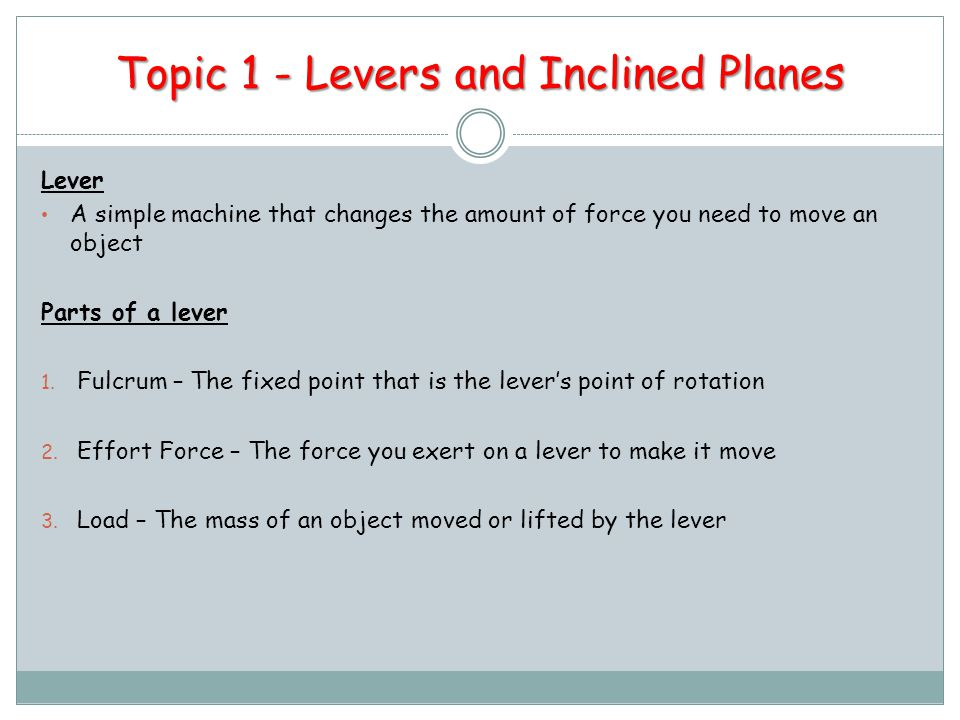 Topic 1 - Levers and Inclined Planes
