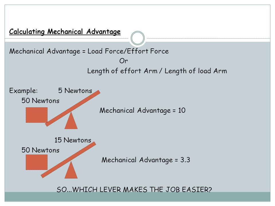 Calculating Mechanical Advantage Mechanical Advantage = Load Force/Effort Force Or Length of effort Arm / Length of load Arm Example: 5 Newtons 50 Newtons Mechanical Advantage = 10 15 Newtons Mechanical Advantage = 3.3 SO...WHICH LEVER MAKES THE JOB EASIER