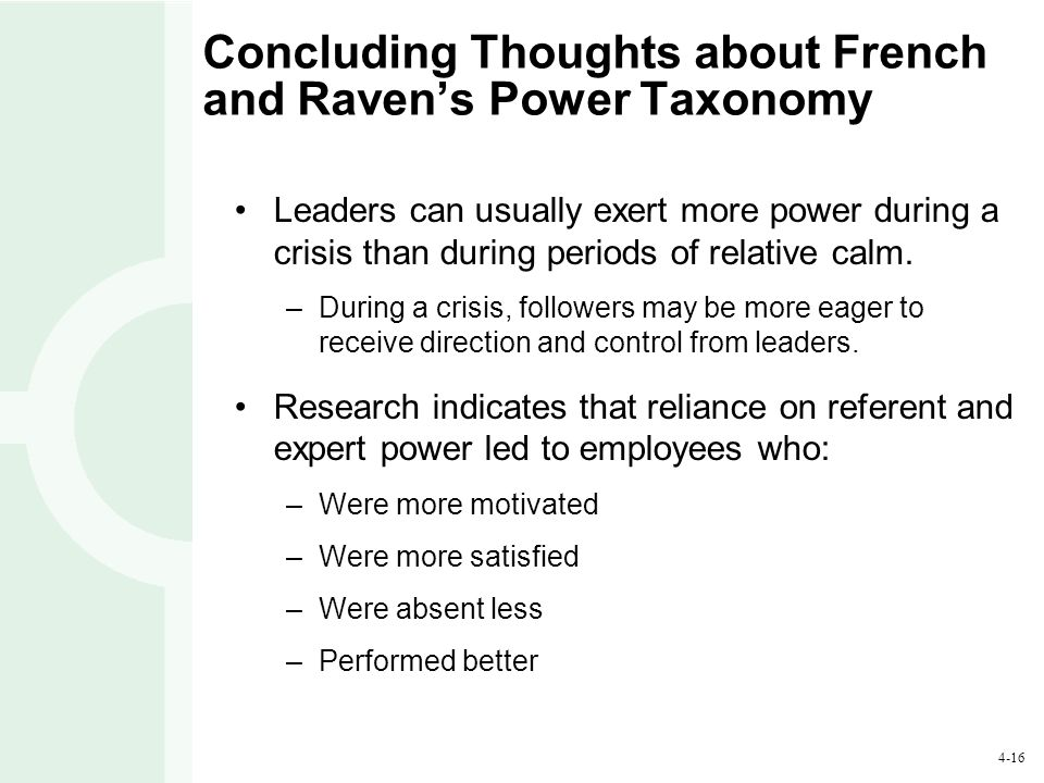 Concluding Thoughts about French and Raven's Power Taxonomy