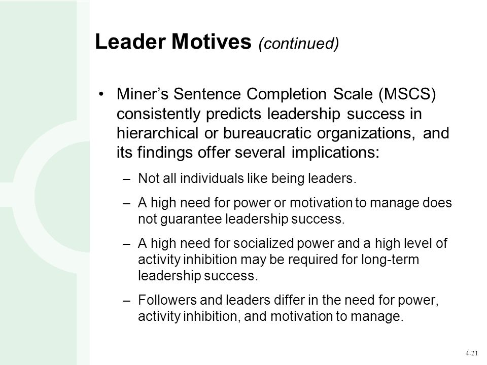 Leader Motives (continued)