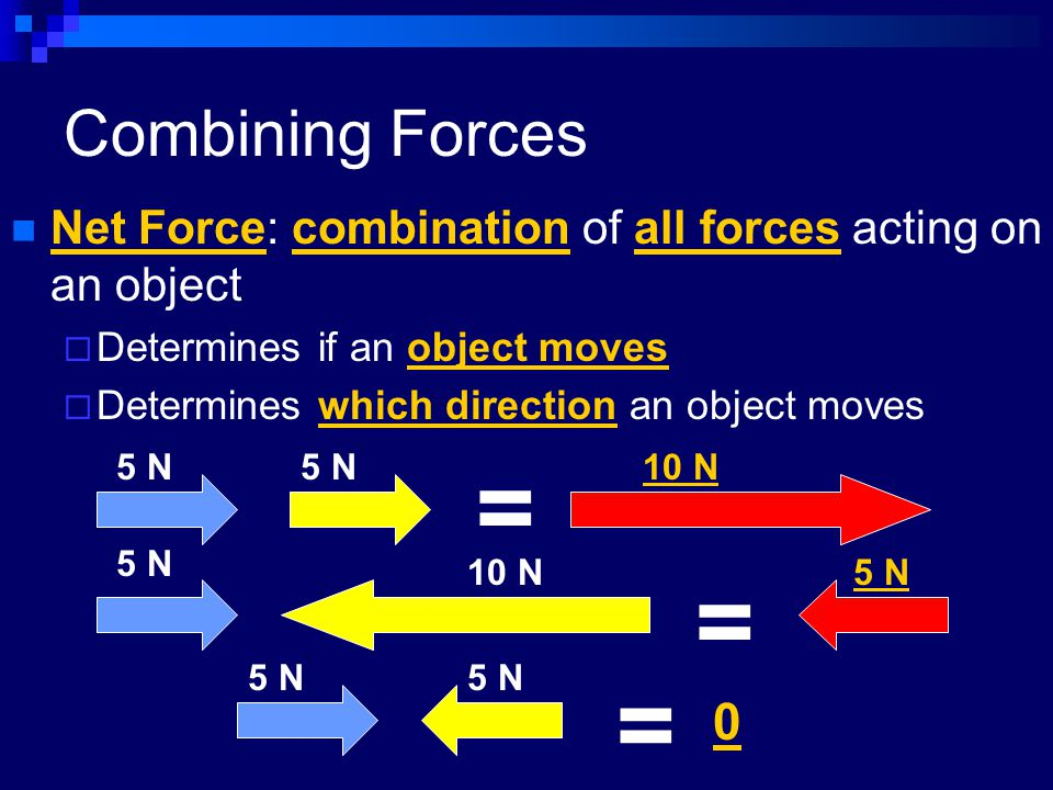 Combining Forces Net Force: combination of all forces acting on an object. Determines if an object moves.