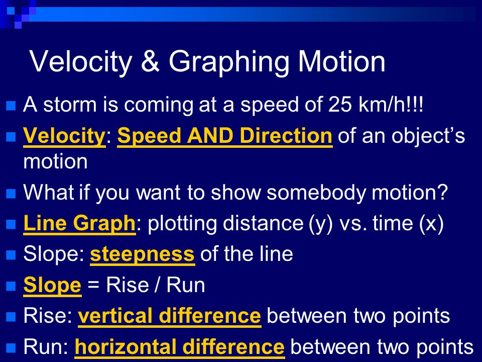 Velocity & Graphing Motion