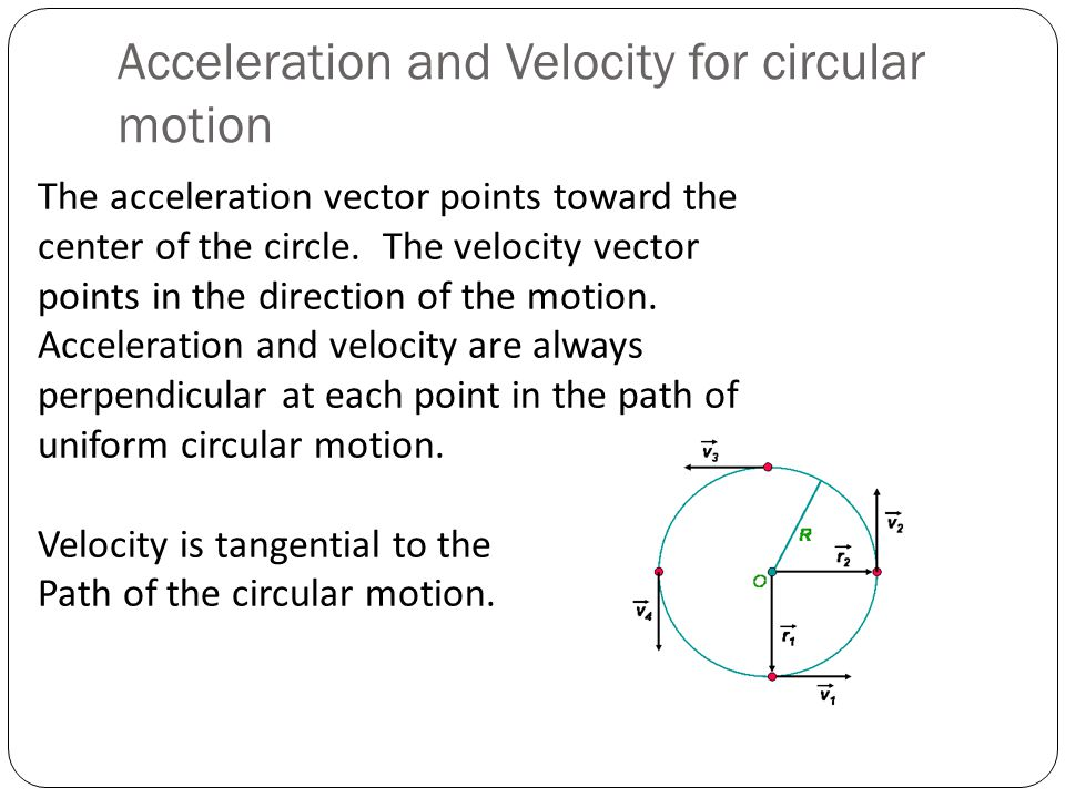 Acceleration and Velocity for circular motion