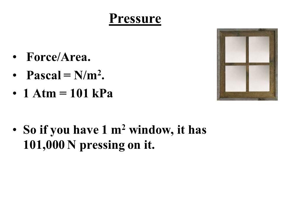 Pressure Force/Area. Pascal = N/m2. 1 Atm = 101 kPa