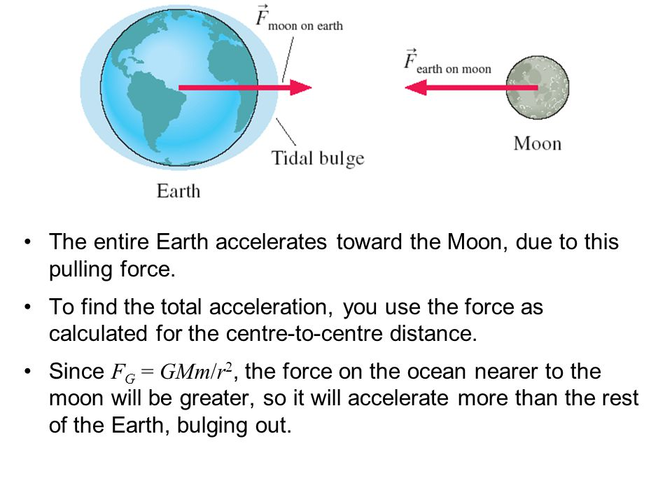 PHY131 Summer 2011 Class 7 Notes June 7, 2011. The entire Earth accelerates toward the Moon, due to this pulling force.