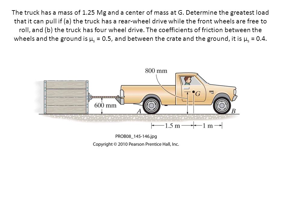 The truck has a mass of 1. 25 Mg and a center of mass at G
