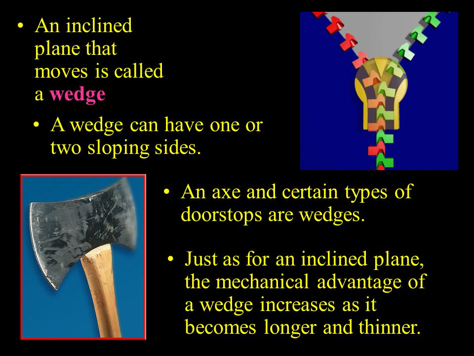 An inclined plane that moves is called a wedge.