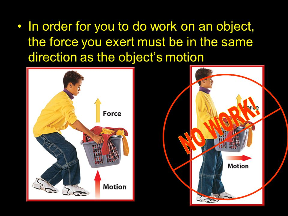 In order for you to do work on an object, the force you exert must be in the same direction as the object's motion