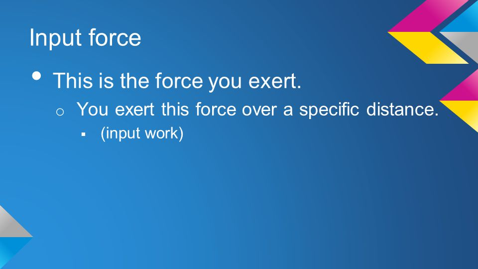 Input force This is the force you exert.
