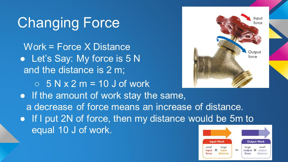 Changing Force Work = Force X Distance Let's Say: My force is 5 N