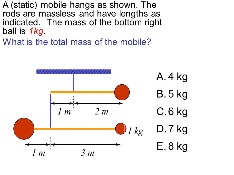 A (static) mobile hangs as shown
