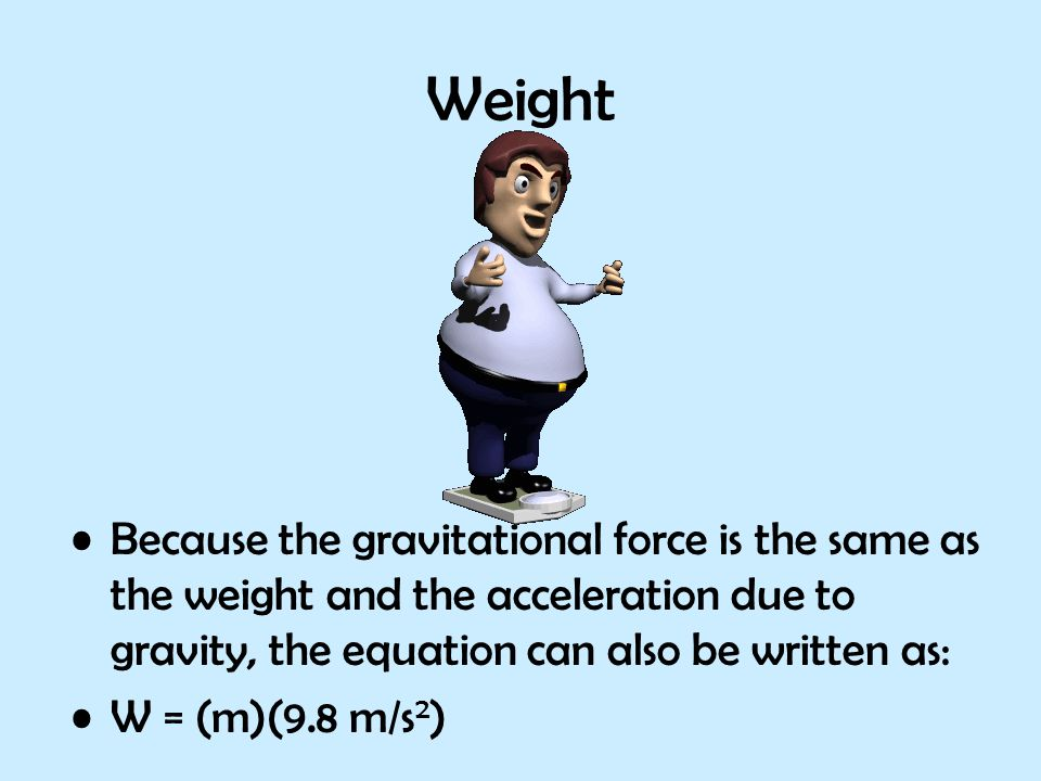 Weight Because the gravitational force is the same as the weight and the acceleration due to gravity, the equation can also be written as: