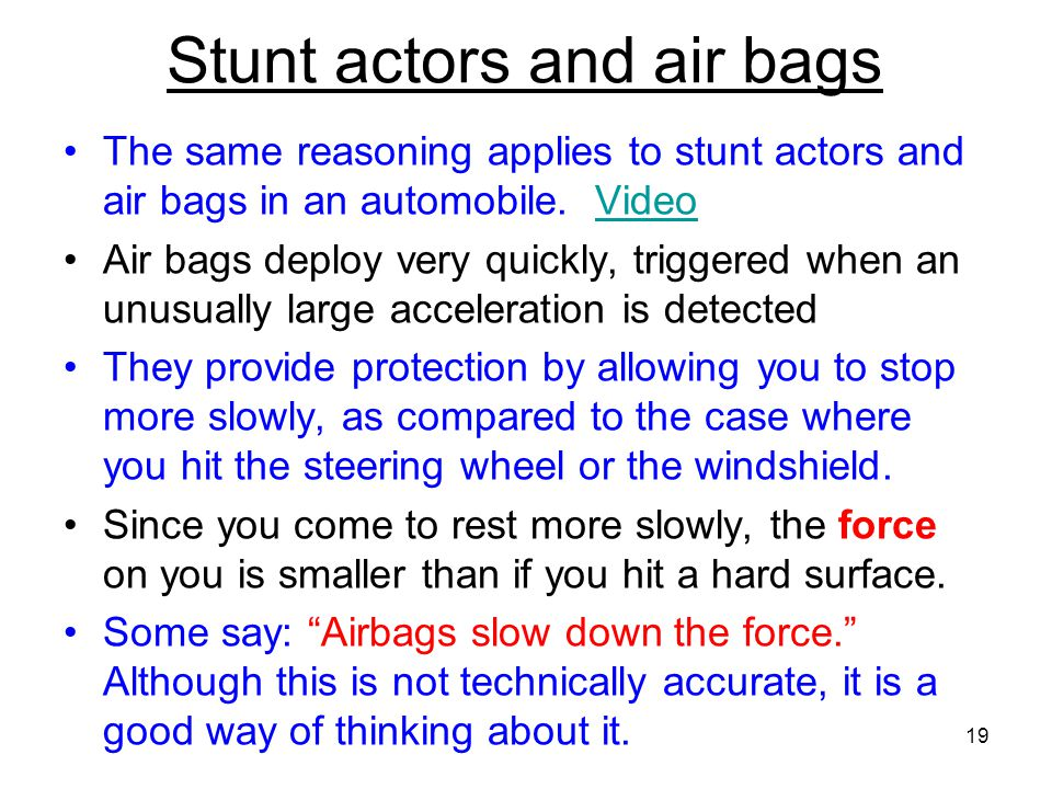 Stunt actors and air bags