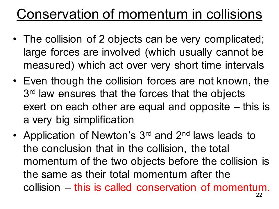 Conservation of momentum in collisions
