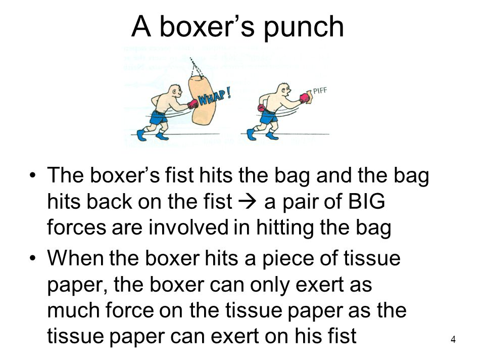 A boxer's punch The boxer's fist hits the bag and the bag hits back on the fist  a pair of BIG forces are involved in hitting the bag.
