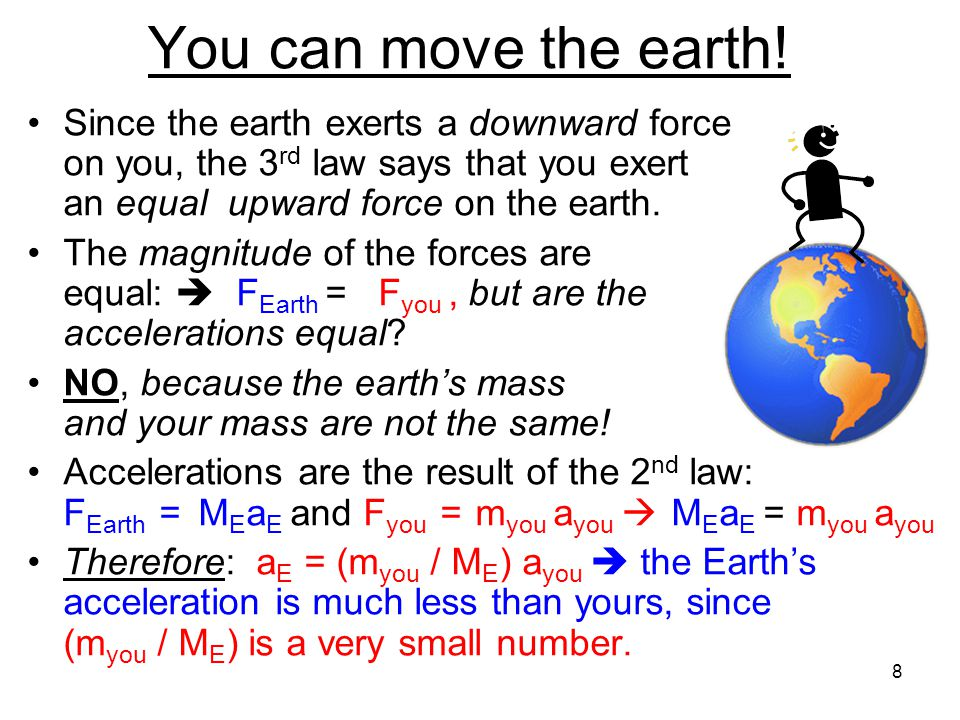 You can move the earth! Since the earth exerts a downward force on you, the 3rd law says that you exert an equal upward force on the earth.