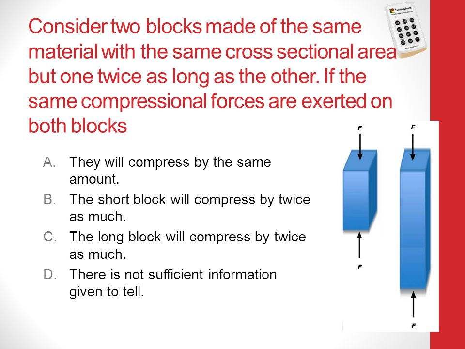 Consider two blocks made of the same material with the same cross sectional area but one twice as long as the other. If the same compressional forces are exerted on both blocks