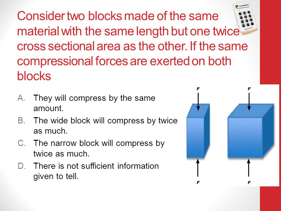 Consider two blocks made of the same material with the same length but one twice cross sectional area as the other. If the same compressional forces are exerted on both blocks