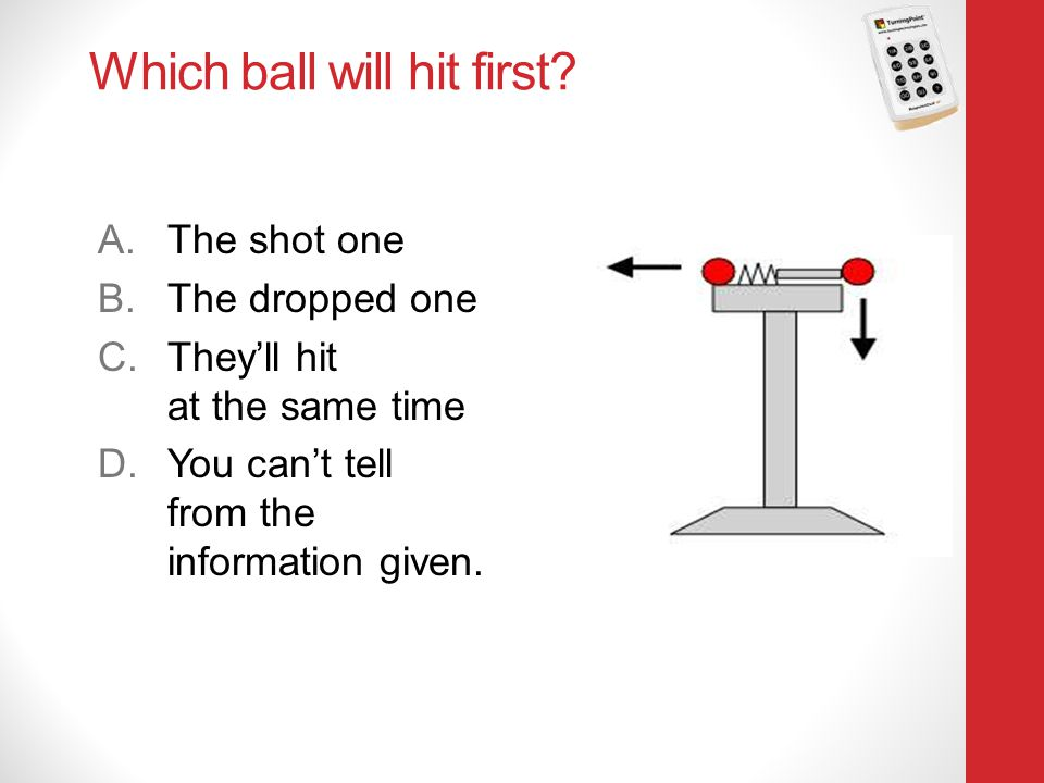 Which ball will hit first