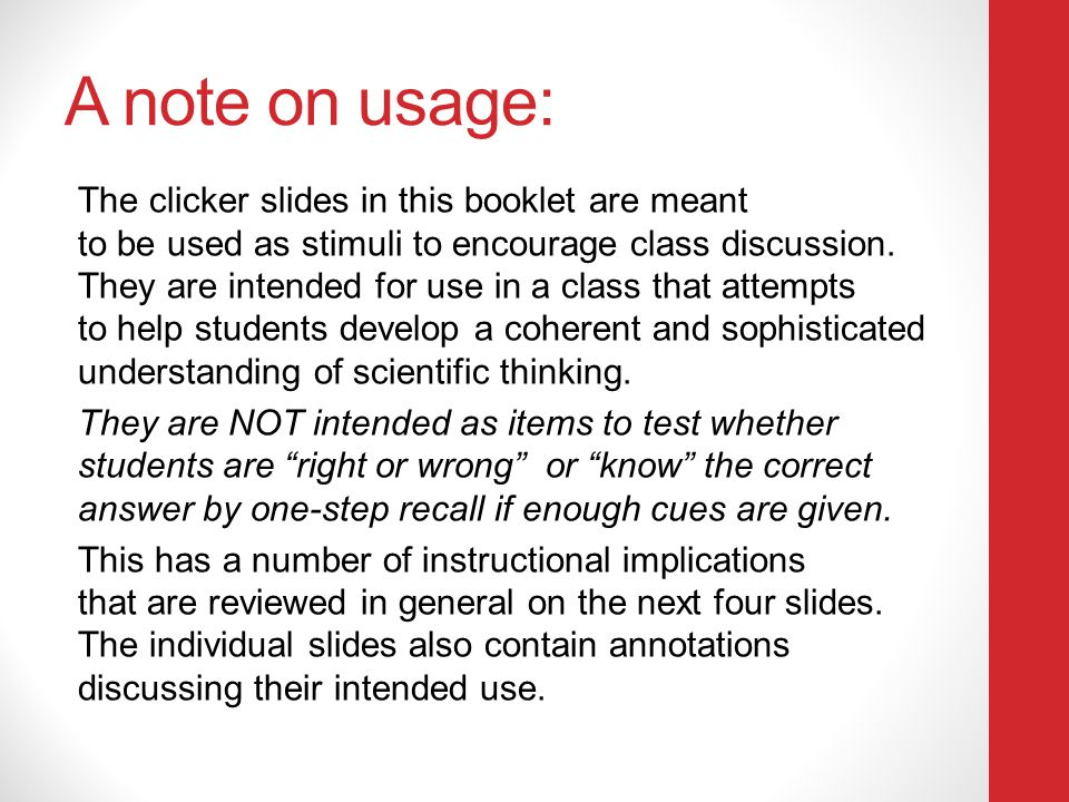 A note on usage: