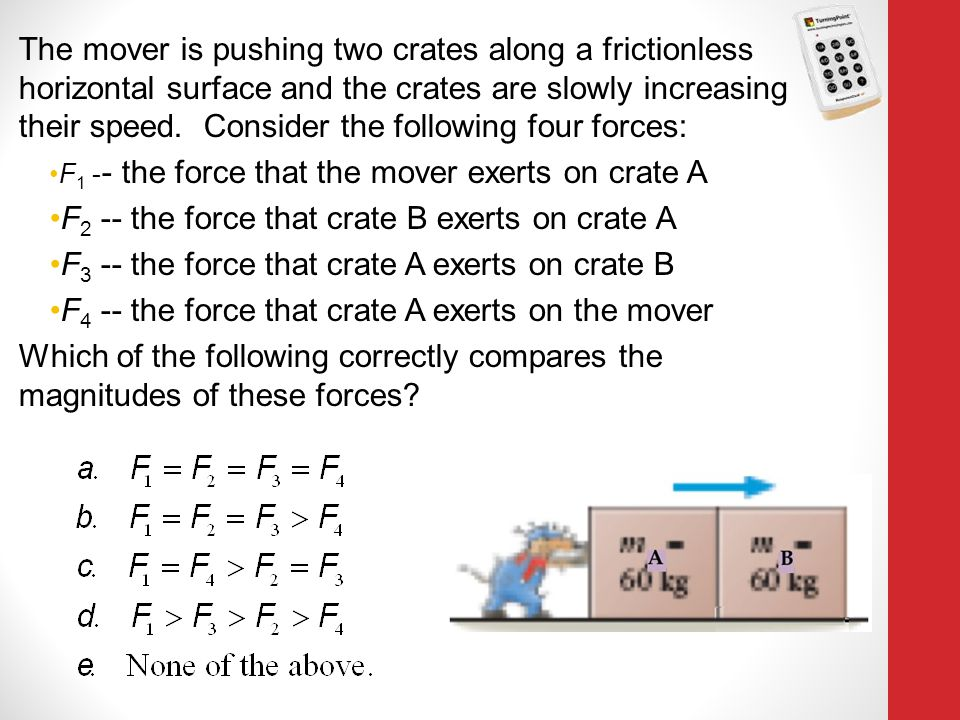F2 -- the force that crate B exerts on crate A