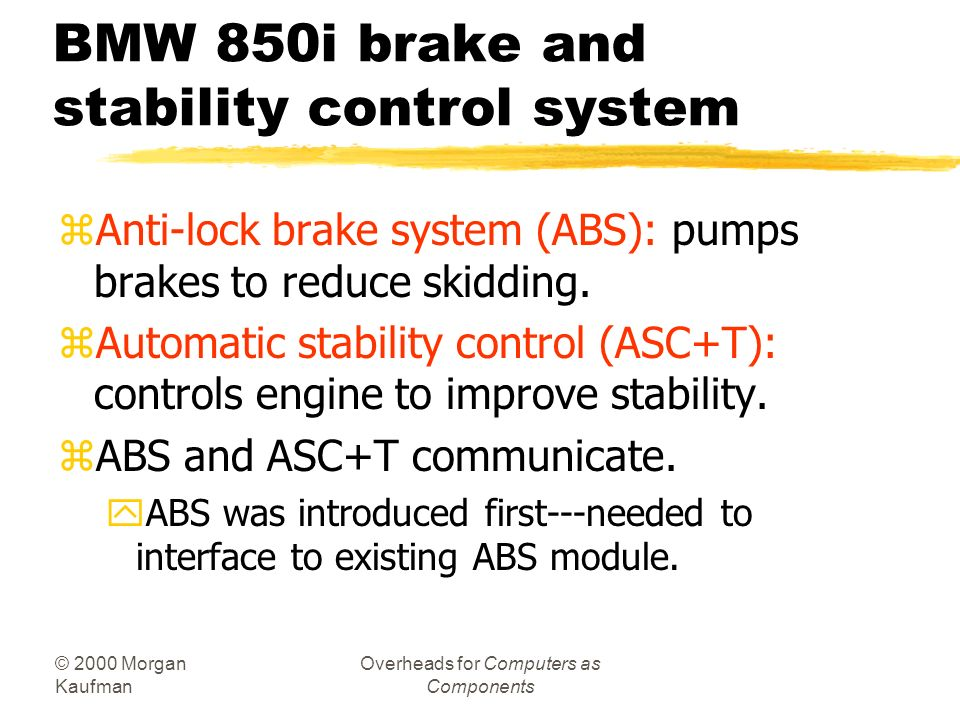 BMW 850i brake and stability control system