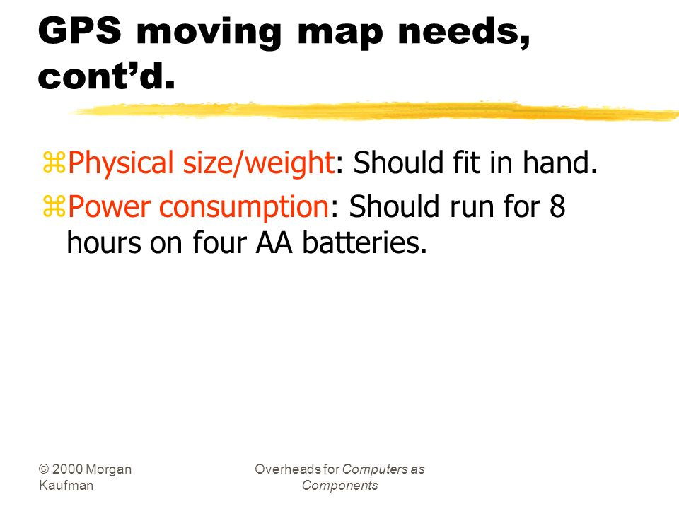GPS moving map needs, cont'd.