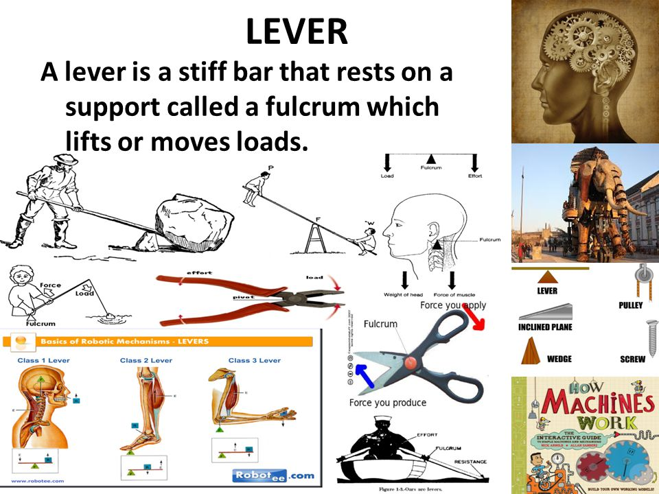 LEVER A lever is a stiff bar that rests on a support called a fulcrum which lifts or moves loads.