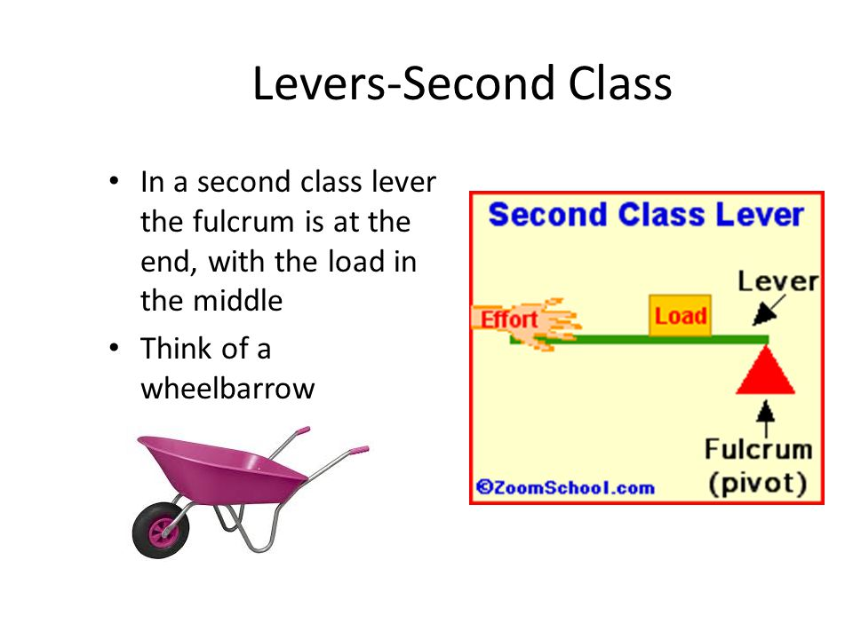 Levers-Second Class In a second class lever the fulcrum is at the end, with the load in the middle.